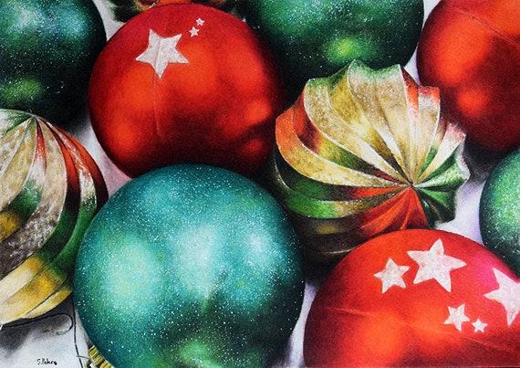Colorful Christmas Ornaments Drawings.Original Colored Pencil Drawing Still Life Art Christmas Ball Ornament Realistic Colored Pencil Art 8x11 Inch