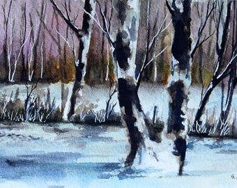 Original Watercolor Painting, Winter Forest Landscape, Winter Decoration 4x6 Inch