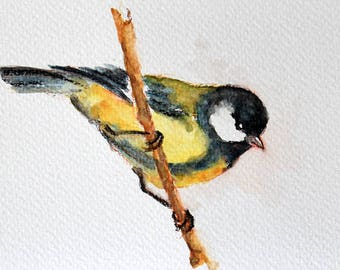 Original Watercolor Painting, Great Tit, Yellow and Black Bird, Handpainted Postcard 4x6 inch