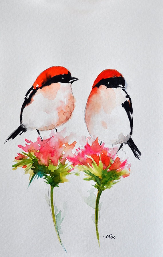 Pulgadas de 6x9.5 de pintura de aves acuarela ORIGINAL | Etsy