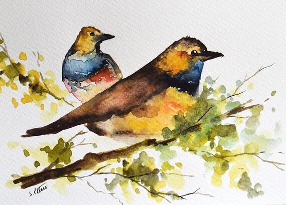 original watercolor bird painting colorful birds in a tree etsy