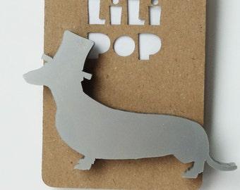 "Brooch ""Dog with a hat"" (Lili0121)... lasercut recycled acrylic."