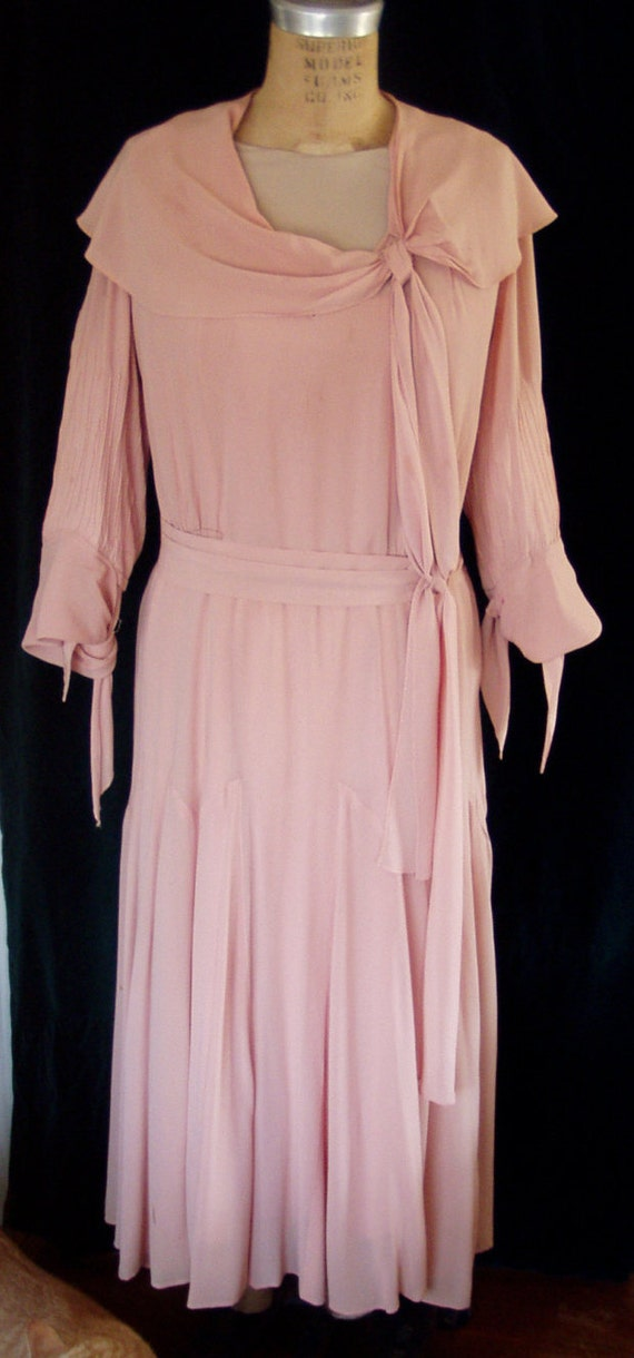 1920's-30's Pink Chiffon Dress