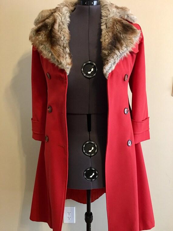 VTG 70s Faux Fur Collar Coat
