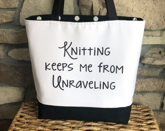 Knitting Tote Bag / Gift for Knitter / Knitting Project Bag / Mother's Day Gift / Funny Knitting Bag / Bag to Hold Yarn / Yarn Tote Bag