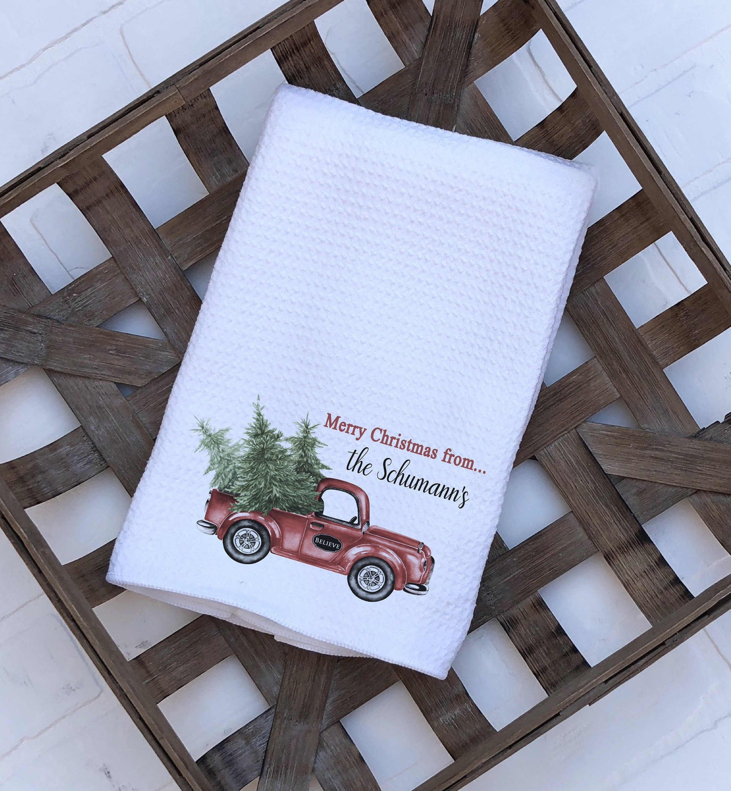 Red Kitchen Hand Towels: Personalized Christmas Kitchen Towel / Red Truck Decor