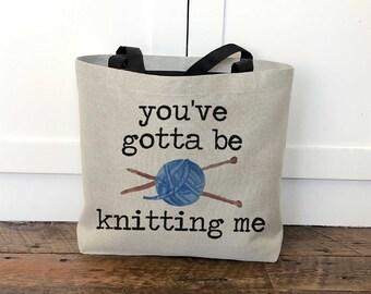 Knitting Tote Bag / Gift for Knitter / Mother's Day Gift for Grandma / Funny Knitting Bag / Bag to Hold Yarn / Yarn Tote Bag