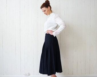 Vintage retro women skirt Navy blue pleated skirt Full skirt Stylish quality midi skirt size S M