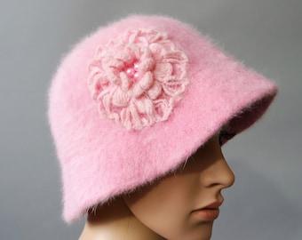 9c06b95586f Vintage Pink Mohair Hat   Fluffy Rosette Hat   Crochet Flower Hat   French  Chic Round Hat   Bucket Kangol Hat