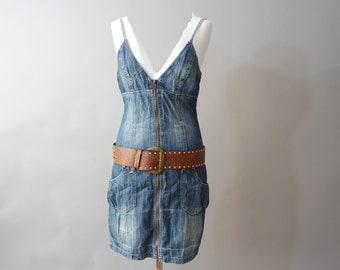 40fd0dac865 Vintage Mini Denim Dress   Washed Denim Tunic   Mini Strap Dress   Jean  Dress   Blue Denim Summer Dress Small