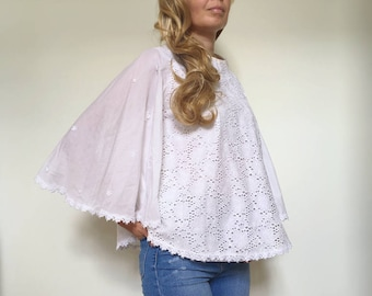 White frill lace blouse Butterfly sleeves high neck top SIZE M L