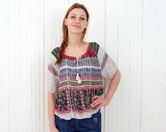 Vintage boho blouse Festival hippie top Retro bohemian music festival top Hippie Coachella blouse size Medium