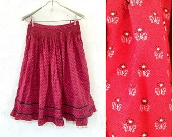 Burgundy red ditsy Full skirt * Made in Austria * Beer festival skirt * Oktoberfest Skirt * Skirt Size S Small Medium