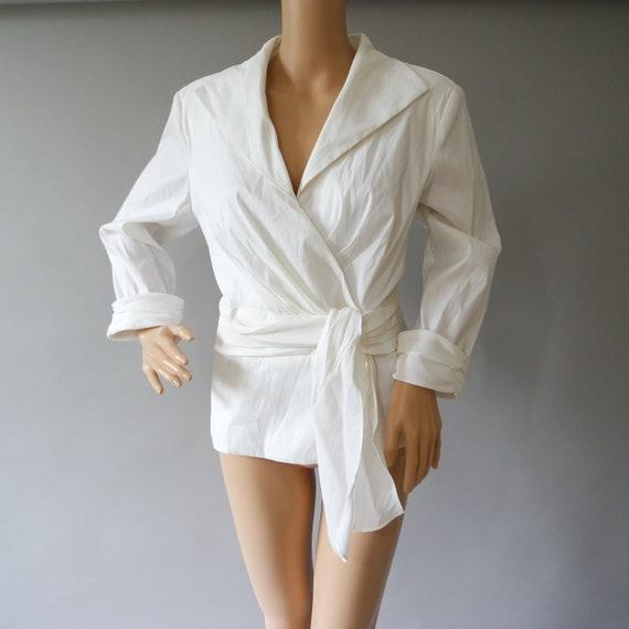 White Taffeta Shirt / Ladies Wrap Shirt / Stylish