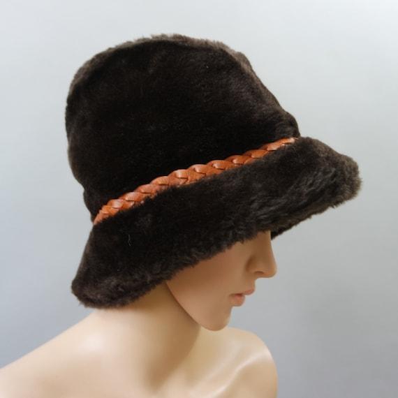 Brown Faux Fur Bucket Hat Russian Style Winter Hat