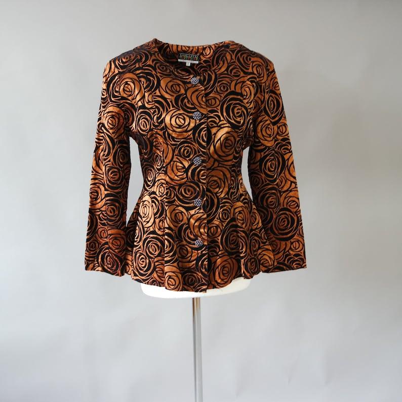 Bronze Velour Roses Jacket  Velvet Evening Blazer  Vintage Button Jacket Small