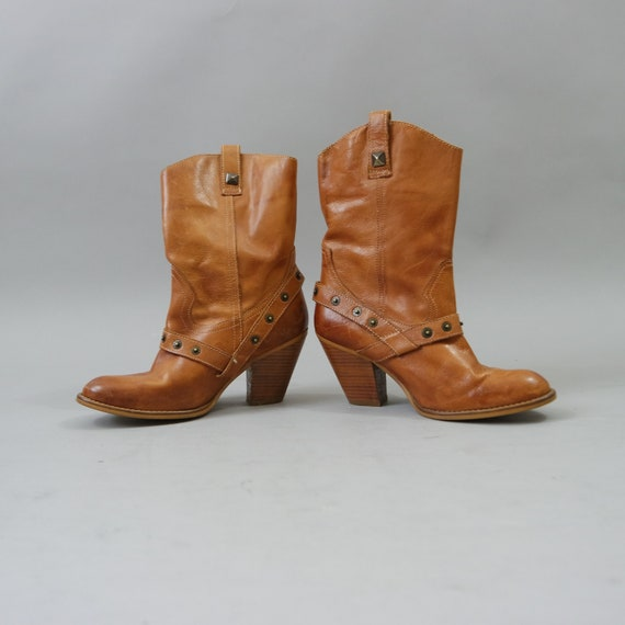Brown Camel Leather Boots Chunky Mid Heel Boots Ta