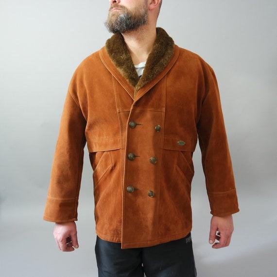 Vintage Suede Leather Coat Men Burn Orange Jacket