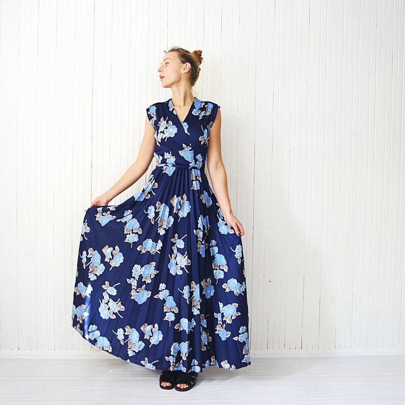 45e52a06350 Vintage H   M robe des années 90 bleu Maxi robe robe fleurie
