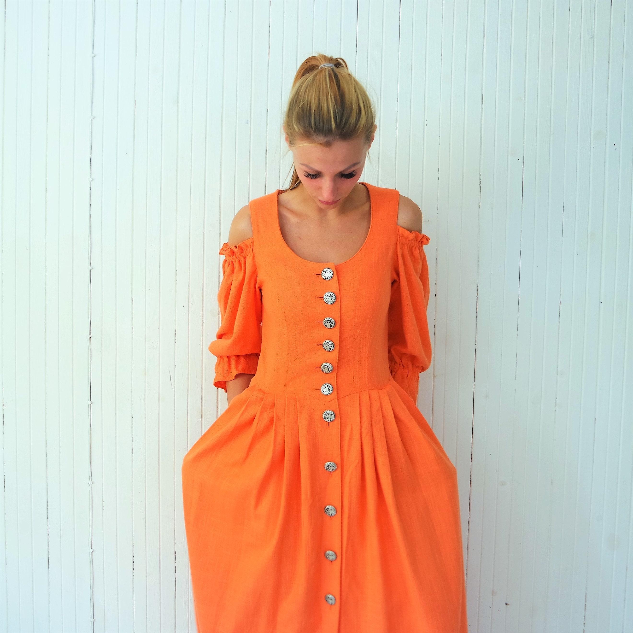 37b775b0c5973 Orange Linen Folk Dress Bavarian Dirndl Dress Maxi Oktoberfest
