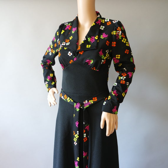 Vintage 70s Maxi Black Dress  Small Collared Flora