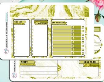 Olive Marmor monatliche Notizen Kit! Entworfen für ECLP, aber kann in jedem Planer verwendet werden!