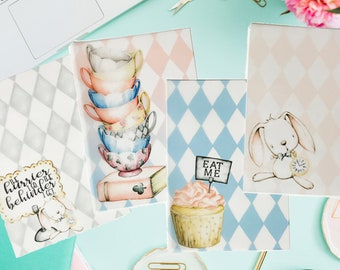 Mad Tea Party Vellum Inserts! Available in A6 and B6 Sizes!