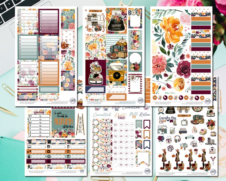 Autumn Dreams Deluxe Weekly Planner kit Available in Horizontal and Vertical Sizes!