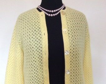 Vintage Yellow Cardigan Sweater - L