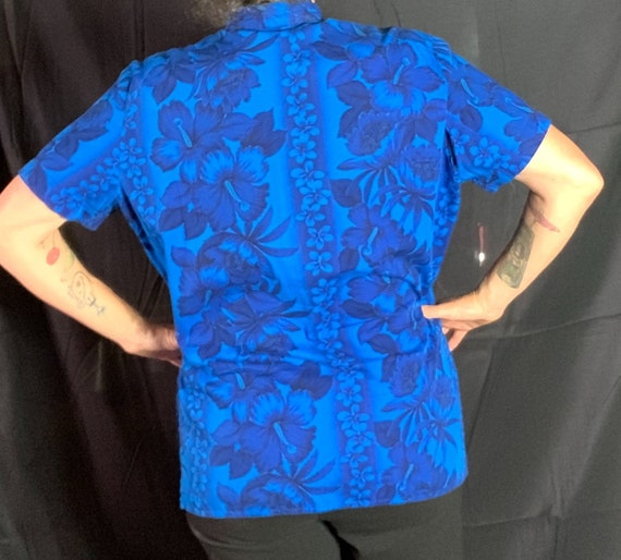 Vintage Blue Hawaiian Tea-Timer Blouse - XL, cott… - image 3