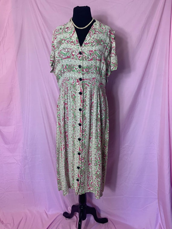Vintage 1940s Cold Rayon Dress, Large, Gray, Pink