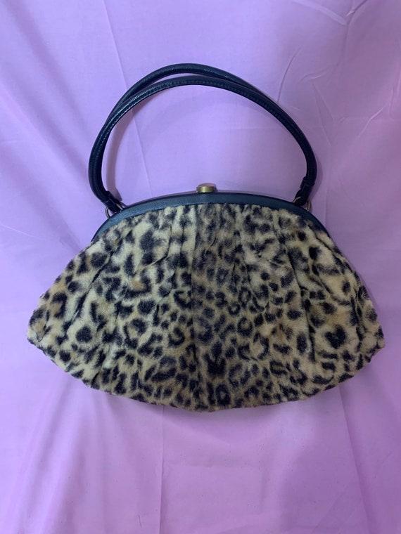 Vintage 50s Leopard fake fur Purse