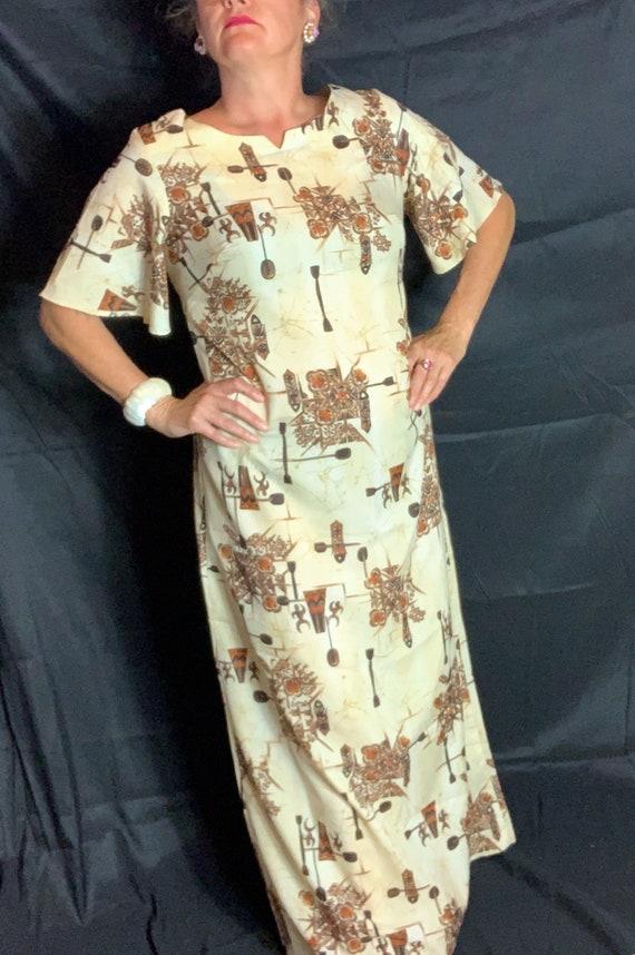 Vintage Hawaiian Tiki Muumuu Dress - Large, floor