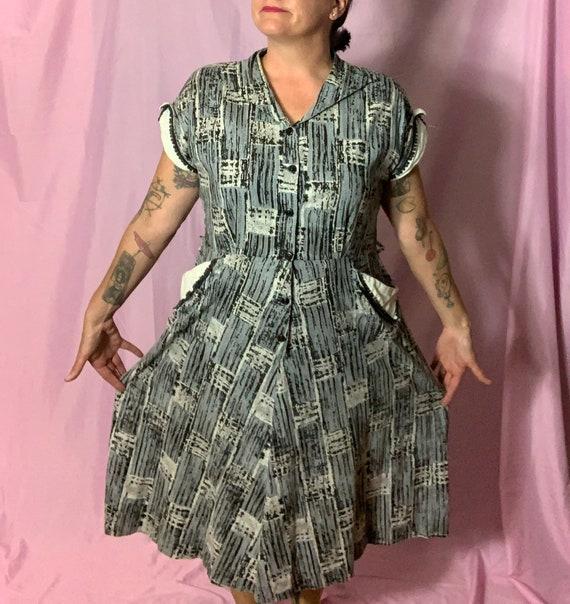 FUN Vintage 50s Cotton Dress, XL, rockabilly, Blue