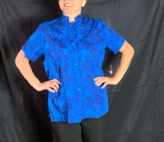 Vintage Blue Hawaiian Tea-Timer Blouse - XL, cotto