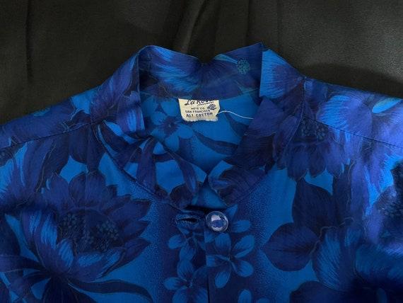 Vintage Blue Hawaiian Tea-Timer Blouse - XL, cott… - image 6