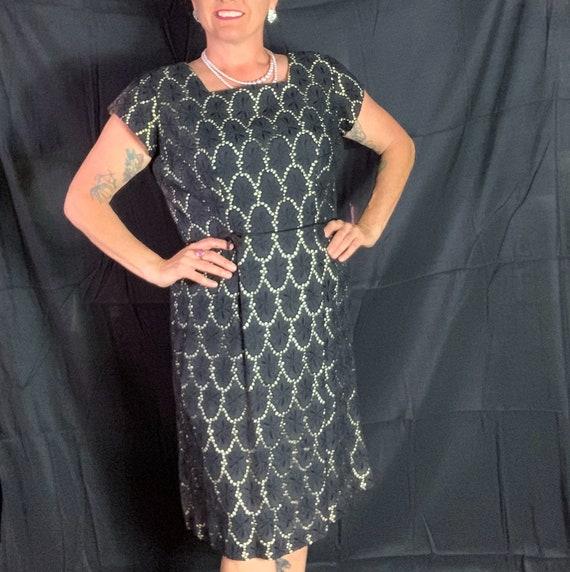 Vintage Black Eyelet Cocktail Dress - XL