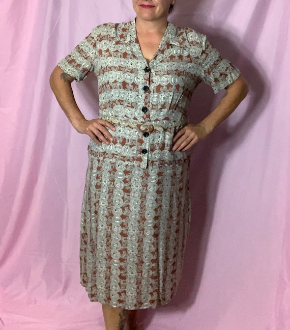 Vintage 40s Cold Rayon Dress, XL, Carmel and Cream