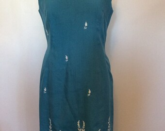 Vintage Turquoise dress - Med