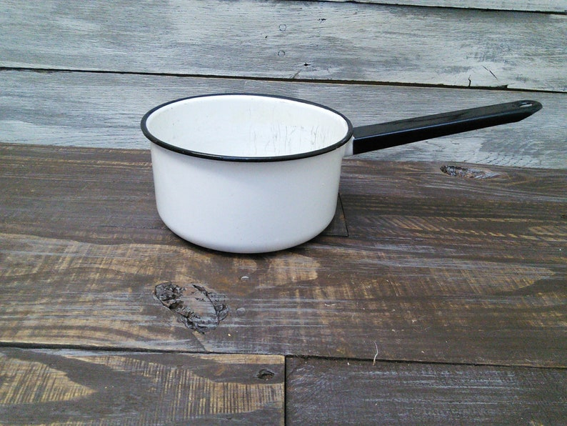 Black and White Vintage Farmhouse Enamelware Pan with Handle