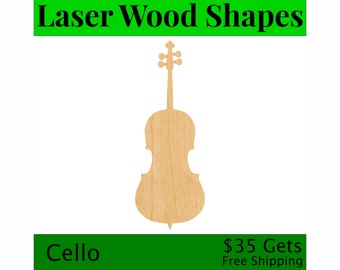 Cello Laser Cut Wood Shape MSC28