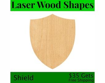 Laser Cut Wood Cut Out Shield - Large