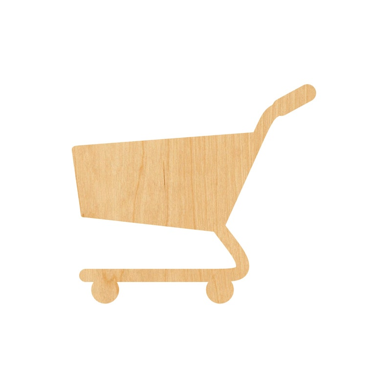 Shopping Cart 2 Laser Cut Out Wood Shape Craft Supply Unfinished