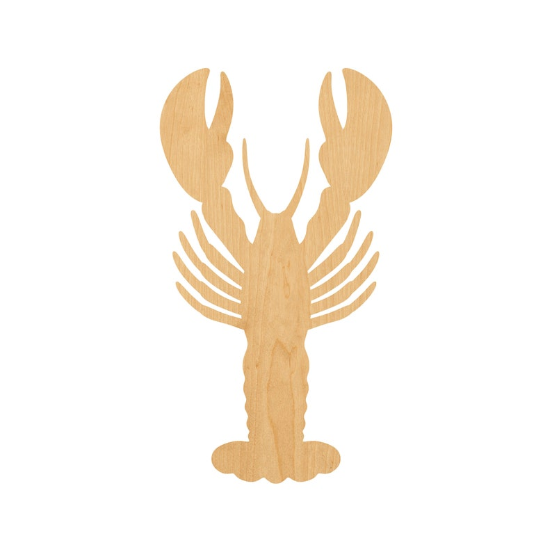 Unfinished Lobster Laser Cut Out Wood Shape Craft Supply
