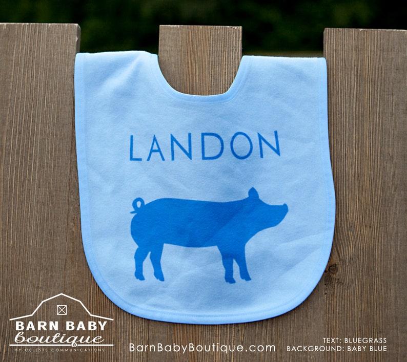 Personalized Show Pig Baby Bib  farm nursery fleece name image 0