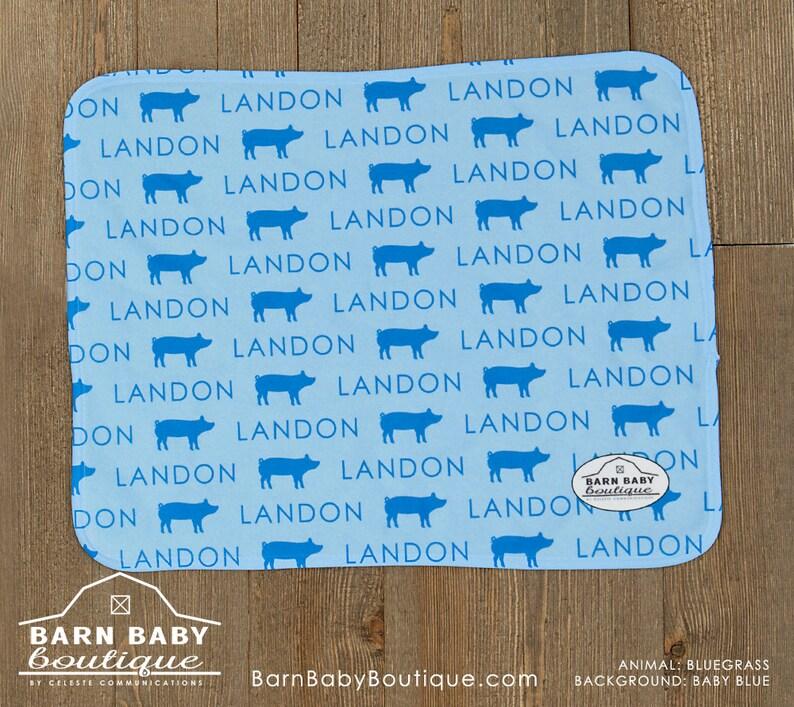 Personalized Show Pig Baby Burp Cloth  farm nursery fleece image 0