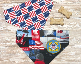 94345cd93376 US Coast Guard, America, Dog Bandana, FREE SHIPPING, Reversible, Slide On  Collar, Personalized, XSmall, Small, Medium, Large, 1XL, 2XL
