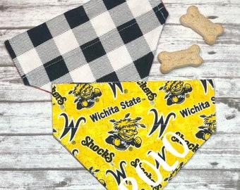 Wichita State Dog Bandana, Wichita Shockers, Reversible, Slide On Collar, Personalized, Wichita State University , by Bizzymamas