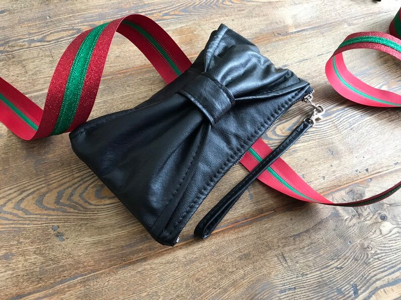 Bow Bag Clutch  Black Reclaimed Leather  Christmas Preorder image 0