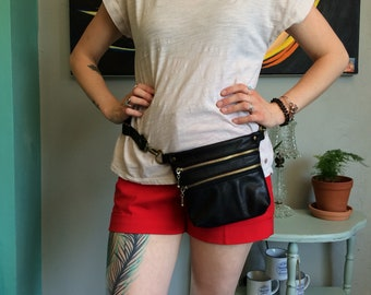 Mini Hippy Fanny Pack Crossbody Bag in Upcycled Black Leather With Brass Hardware